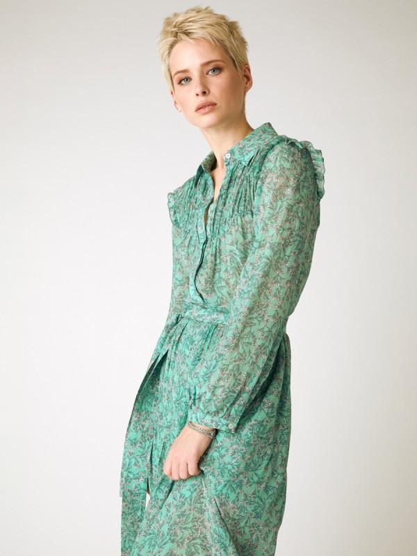 Robe longue imprimee avec col